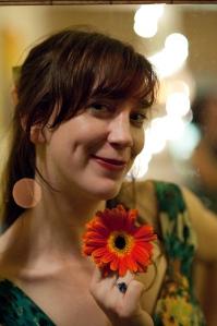 Sarah with gerbera